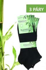 Ellasun pánské bambusové ponožky kotníkové černé 3 páry