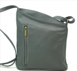 Dámská kožená kabelka crossbody tmavě šedá Vera Pelle Made in Italy