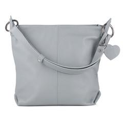 Dámská kožená kabelka přes rameno světle šedá Made in Italy