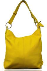 Made in Italy dámská kožená kabelka přes rameno žlutá