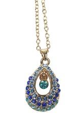 Řetízek s přívěskem zdobený modrými krystalky