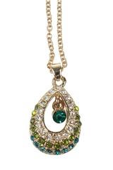 Řetízek s přívěskem zdobený zelenými krystalky
