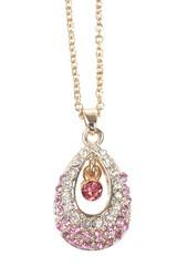 Řetízek s přívěskem zdobený růžovými krystalky