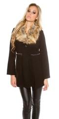 Koucla dámský černý kabát s kožešinou