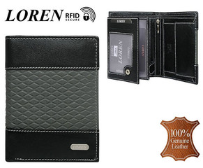 Pánská černá kožená peněženka LOREN RFID N4-DDG-bl-gr