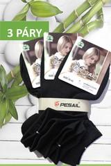 Pesail dámské bavlněné ponožky kotníkové černé 3 páry