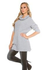 Koucla dámský pletený svetr s rolákem šedý