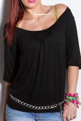 Dámské černé tričko KouCla T1107