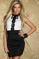 Galanto dámské společenské černobílé šaty s aplikací