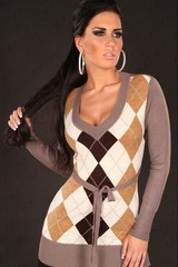 Dlouhý dámský svetr károvaný KouCla HNĚDÁ