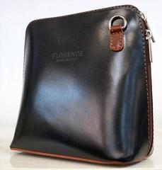 Made in Italy Florence dámská kabelka kožená crossbody malá černá-hnědá