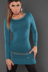 Koucla dámský úpletový svetr, tunika s mašlí petrolový