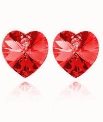 Náušnice ve tvaru srdce červené