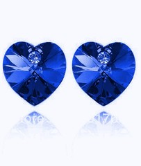 Náušnice ve tvaru srdce modré