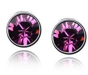 Náušnice fialové s krystaly