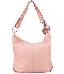 Made in Italy dámská kožená kabelka přes rameno světle růžová