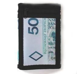 Látková peněženka černá s potiskem a řetízkem
