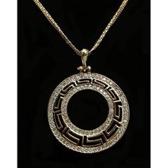 Dlouhý řetízek s přívěskem ornament zlatý s kamínky Lorenti