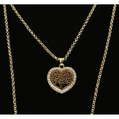 Dlouhý řetízek s přívěskem strom života a srdce zlatý s kamínky Lorenti
