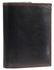 Pánská kožená pěněženka černá na výšku v krabičce Ricardo Ramos KVT-306