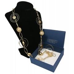 Masivní dlouhý náhrdelník zlatý s perlami Lorenti