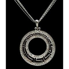 Dlouhý řetízek s přívěskem ornament stříbrný s kamínky Lorenti